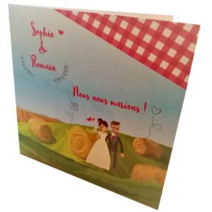 Faire part de mariage personnalisé Thème champêtre